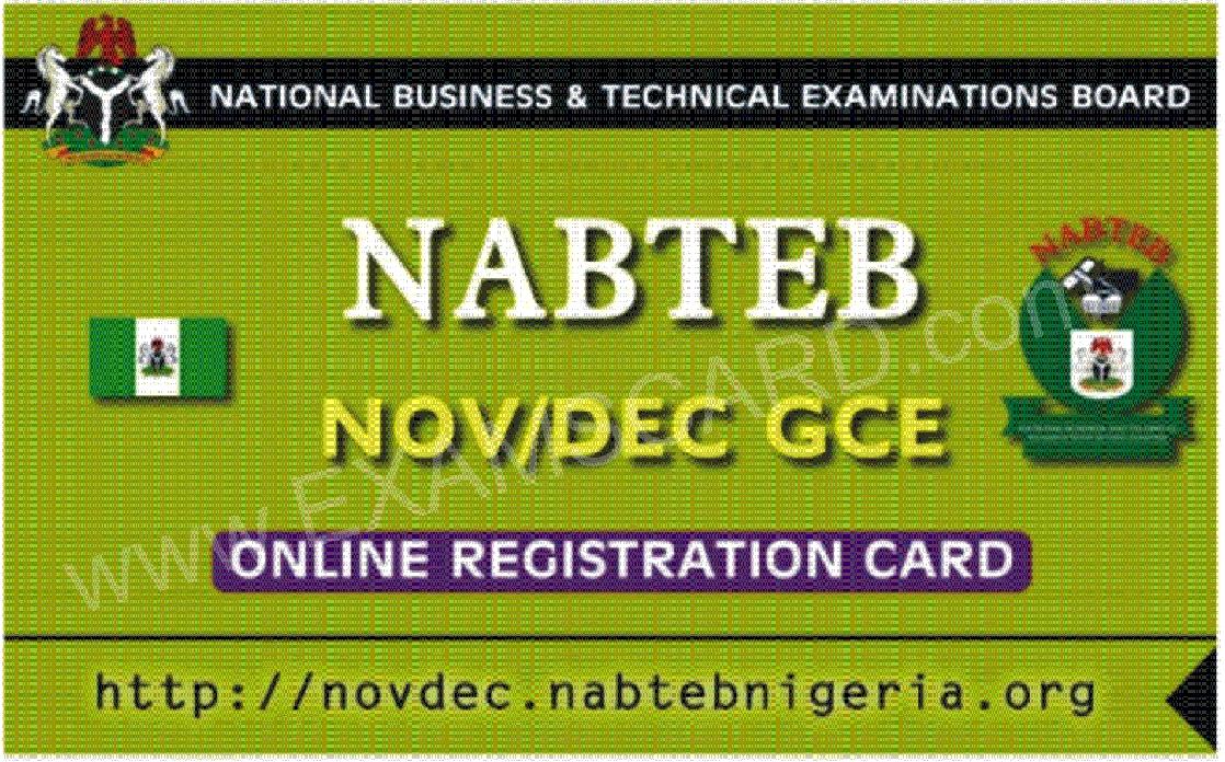 NABTEB GCE A_LEVEL NOV/DEC REGISTRATION PIN