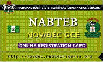 NABTEB GCE 0_LEVEL NOV/DEC REGISTRATION PIN